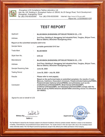 BLUEVISION UV-C BAR ROHS CERTIFICATE