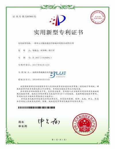 龙8官网灯条实用新型专利证书