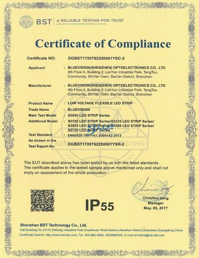 BLUEVISION IP55 CERTIFICATION