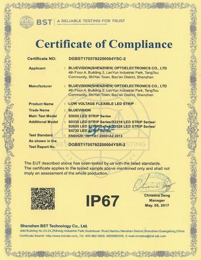 BLUEVISION IP67 CERTIFICATION