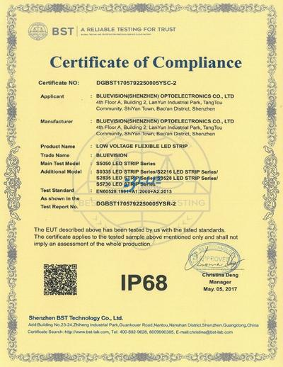 BLUEVISION IP68 CERTIFICATION