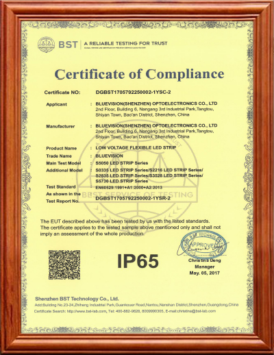 BLUEVISION IP65 CERTIFICATION