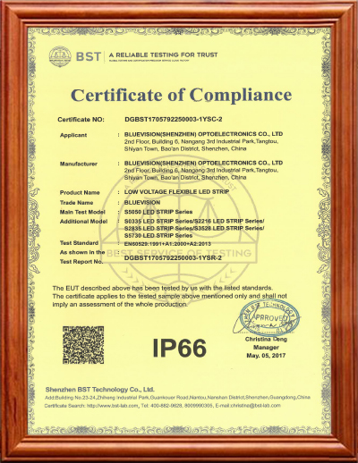 BLUEVISION IP66 CERTIFICATION