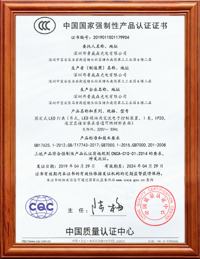 BLUEVISION LINEAR LIGHT CCC CERTIFICATE